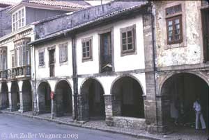 Arcaded buildings of the old neighborhoods of Avilés, Asturias