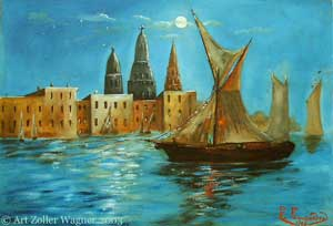 Venetian Night Scene, oil painting on paper by Emilio Fernández, 1929?