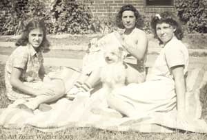 Honnie Amor Wagner, Mary Louise Guedes,  Dora Wentz, & Yankee in yard of home in Anmoore WV