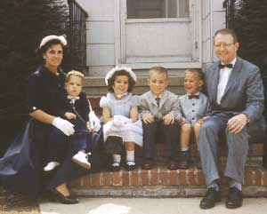Honnie, Joel, Joyce, Art, Hap, and John Wagner, Easter, April 17, 1960